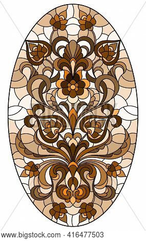 Illustration In Stained Glass Style, Round Mirror Image With Floral Ornaments And Swirls,brown Tone