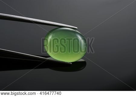 Green Agate Oval Cabochon, Green Onyx, Green Chalcedony. Microcrystalline Quartz Yellowish-green Gem