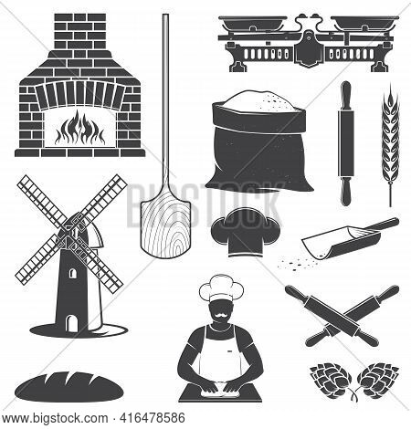 Set Of Bakery Equipment Icon Silhouette. Vector. Set Include Windmill, Old Oven, Wooden Bread Shovel