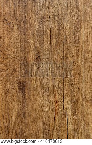 Beautiful Pattern Of Old Oak Wood Fibers With Cracks, Spots With Vertical Stripes. Vertical Image.