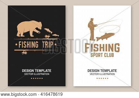 Fishing Sport Club. Vector Illustration Flyer, Brochure, Banner, Poster Design With Bear, Fisherman