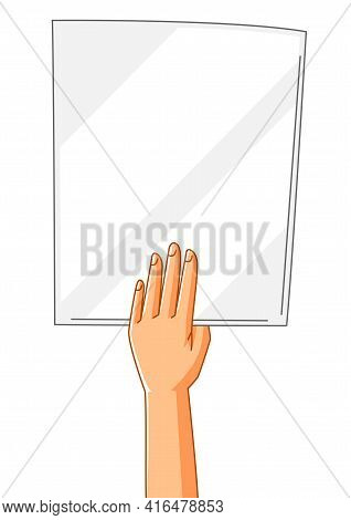 Illustration Of Hand With Banner. Picket Sign Or Protest Placard On Demonstration Or Protest.