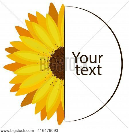 Monogram Frame Of Half Sunflower Flower And Empty Semicircle Frame For Text.