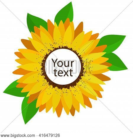 Yellow Sunflower Flower With Empty Middle For Your Text.