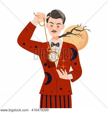 Man Hypnotist With Pendulum Practicing Hypnosis Focusing Attention Vector Illustration