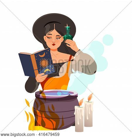 Woman As Fortune Teller Or Psychic Reading Spell At Boiling Cauldron Predicting Future Or Performing