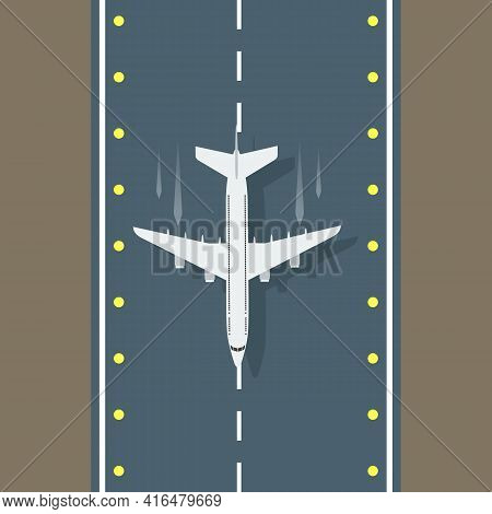 Airstrip With Airplane Aerial Top View For Your Design. Vector Illustration.