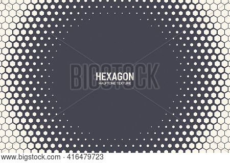 Hexagonal Halftone Texture Vector Frame Geometric Technology Abstract Background. Half Tone Hexagon