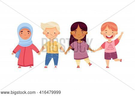 Multiethnic Children Holding Hands And Smiling Vector Illustration
