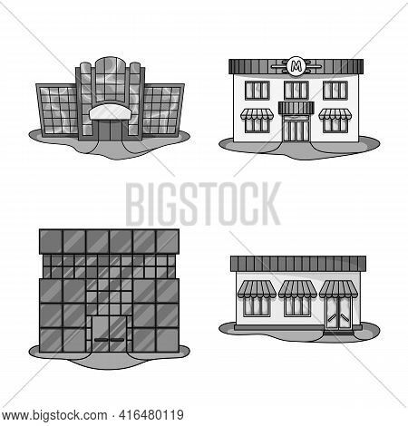 Isolated Object Of Supermarket And Building Icon. Collection Of Supermarket And Business Vector Icon