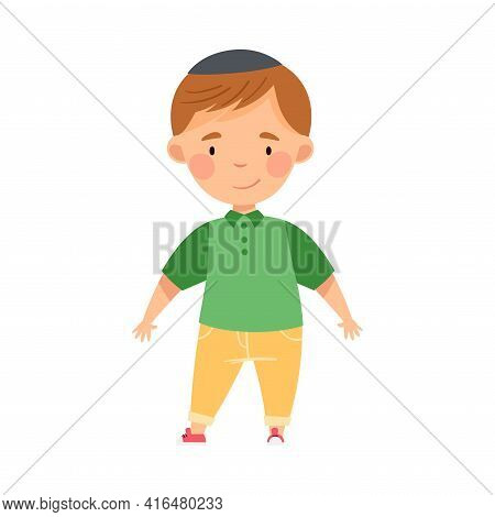 Jew Boy In Skullcap Standing And Smiling Vector Illustration
