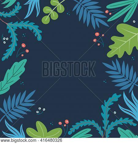 Summer Tropical Vector Design For Banner Or Flyer With Dark Background. Flower Frame For Greeting Ca