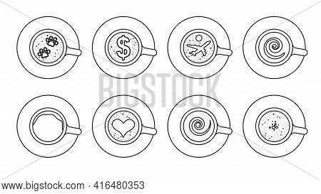 Coffee Top Vector Outline Set Icon. Vector Illustration Cup Cappuccino On White Background. Isolated
