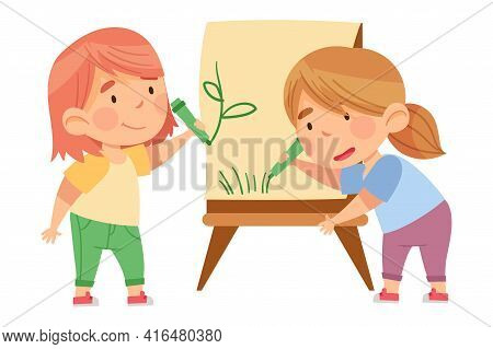 Little Girls Drawing With Felt Pens On Drawing Easel In Kindergarden Vector Illustration