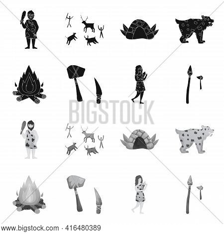 Vector Illustration Of Evolution And Neolithic Logo. Set Of Evolution And Primeval Stock Symbol For