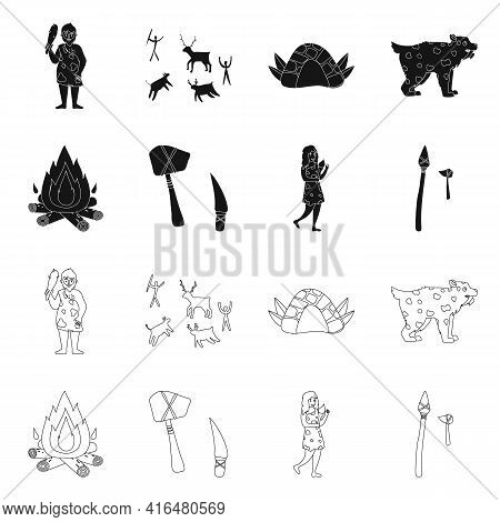 Vector Design Of Evolution And Neolithic Icon. Collection Of Evolution And Primeval Stock Symbol For