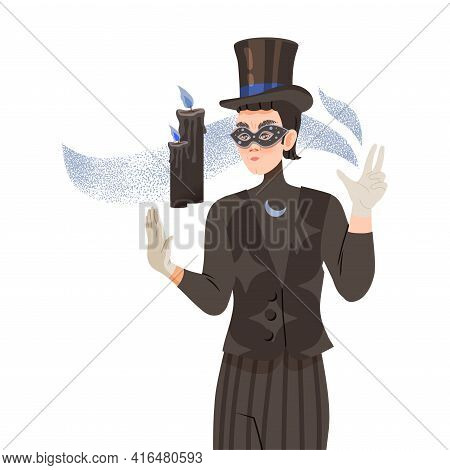 Man Psychic And Stage Magician In Mask Performing Trick With Floating Burning Candles Vector Illustr