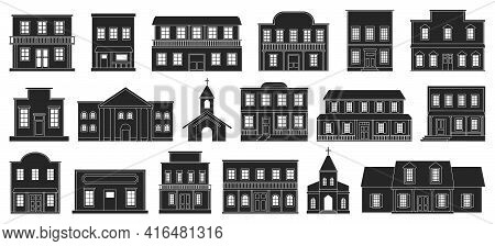 Wild West Buildings Vector Illustration On White Background. Vector Black Set Icon Church Western. I