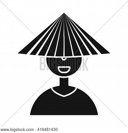 Vector Illustration Of Vietnamese And Portrait Logo. Collection Of Vietnamese And Costume Stock Symb