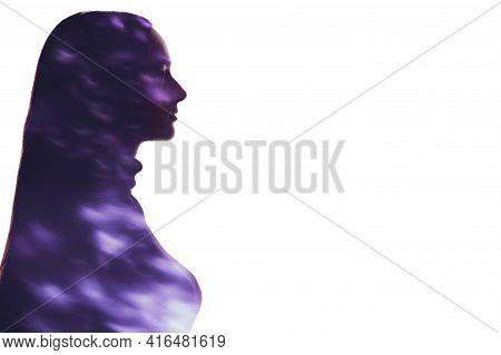 Double Exposure Silhouette. Spiritual Energy. Enlightenment Aura. Blur Neon Purple Light Fleck In Pr
