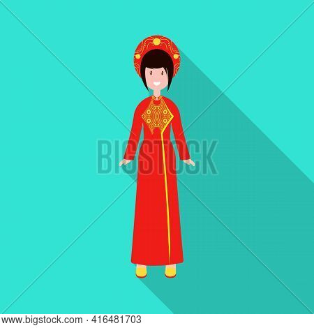 Isolated Object Of Vietnamese And Woman Sign. Set Of Vietnamese And Girl Vector Icon For Stock.