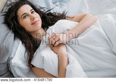 Cozy Morning. Weekend Leisure. Home Hygge. Beauty Wellbeing. Pensive Relaxed Daydreaming Brunette Wo