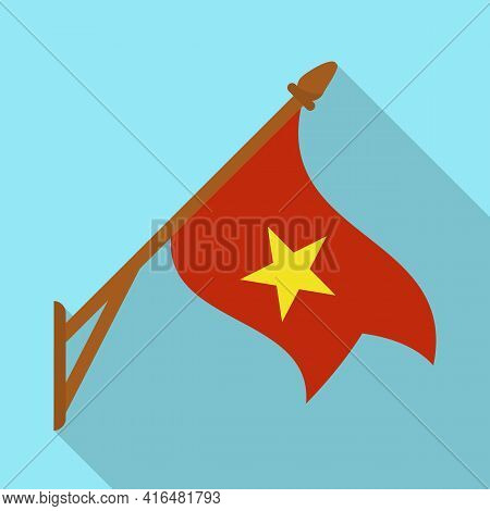 Vector Design Of Flag And Red Symbol. Collection Of Flag And Vietnamese Stock Symbol For Web.