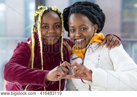 Two Smiling Happy Black Girl Friends, African American Homosexual Women, Afro Lesbians Couple Make H