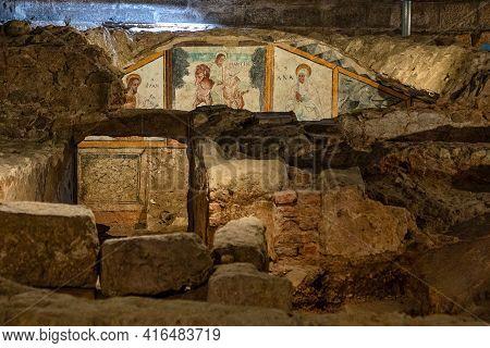 Crypt Of Santa Eulalia. Ancient Paleochristian Necropolis Located Under The Basilica Of Santa Eulali
