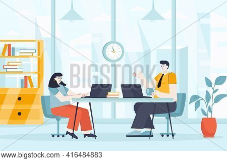 Coworking Space Concept In Flat Design. Employees Or Freelancers Work In Office Scene. Colleagues Co
