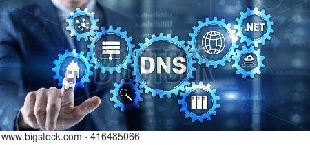 Dns Domain Name System Server Concept. Mixed Media
