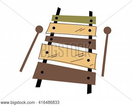 Minimalistic Vector Illustration Of Xylophone. Flat Illustration. Trending Style And Color. Logo Cli