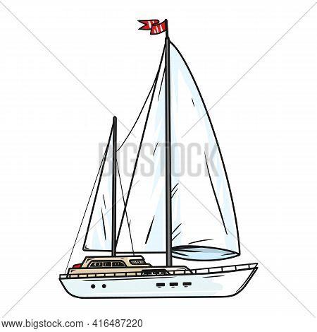 Sailing Yacht With White Sails. Illustration Chic Sailing Ship. Luxurious Yacht Race, Illustration O