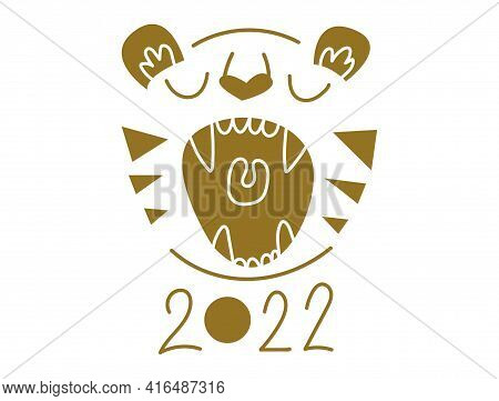 Tiger S Wrath. Vector Illustration Of A Tiger Head. New Year 2022 Symbol. Flat Illustration. Actual