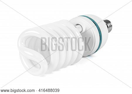 Energy Saving Fluorescent Light Bulb Isolated On White Background With Clipping Path
