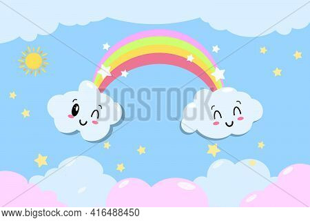 Cute Vector Rainbow With Clouds And Heart - Kawaii Style Illustration From Children Fairytale With S