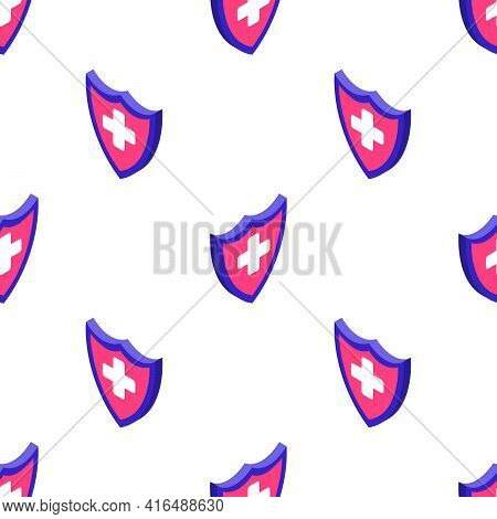 Seamless Vector Pattern Of Blue Shields With White Crosses, Isolated On Background. Health Protectio