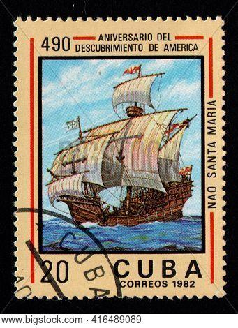 Cuba - Circa 1982: Cubian Postage Stamp Dedicated Sailing Ship. Old Sea Vessel. Polish Post Stamp. V