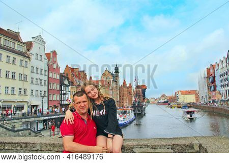 Gdansk - Poland. 21 June 2019:  Family Of Two Persons Resting By City Canal. Happy Dad And Daughter