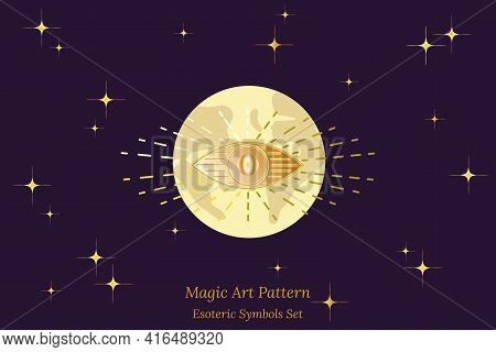Esoteric Symbol Of Opening Of Third Eye Of Soul, Sun, Against Background Of Planet Earth And Starry