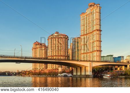 Moscow Buildings In Sunset Lights, Russia. Residential Complex Alye Parusa At Moskva River. Scenery