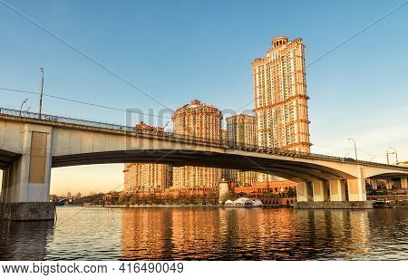 Moscow Buildings In Sunset Lights, Russia. Residential Complex Alye Parusa At Moskva River. Panorama