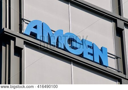 Rotkreuz, Zug, Switzerland - 28th March 2021 : Amgen Logo Sign Hanging On The Office Building In Rot