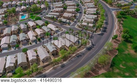 Panoramic View Of A Neighborhood In Roofs Of Houses Of Residential Area A Avondale Near Phoenix Ariz