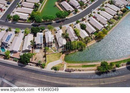 Near Phoenix Arizona Avondale City The Aerial Panorama View Of Residential Houses Neighborhood And A