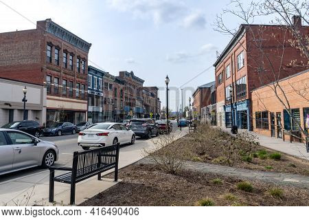 Port Jervis, Ny - Usa - April 10,2021: View Of The Historic Front Street In Downtown Port Jervis, Ne