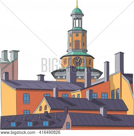 Stockholm. The Clock Tower Of The Church Of Mary Magdalene.