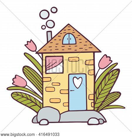 Cute House Of Love Icon. Hand Drawn And Outline Illustration Of Cute House Of Love Vector Icon For W