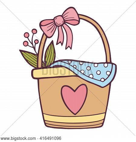 Flower Present Basket Icon. Hand Drawn And Outline Illustration Of Flower Present Basket Vector Icon