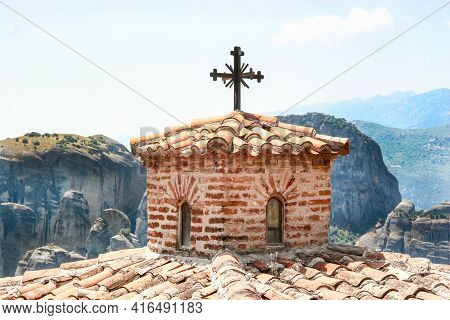 Dome Of The Church With A Cross In Meteora. Greece. Thessaly